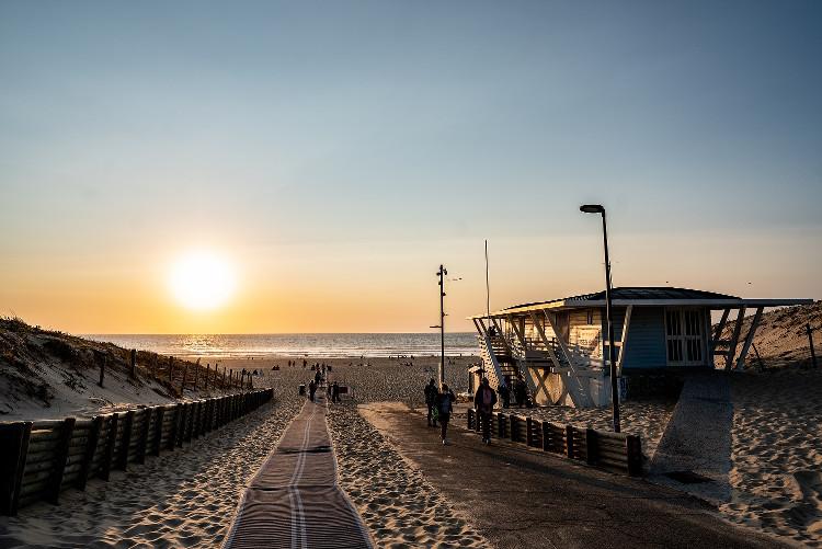 coucher de soleil sur la plage de Moliets