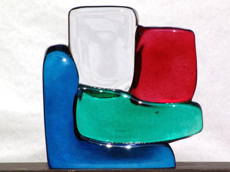 Sculpture de verre 4 couleurs de Xavier Carrère