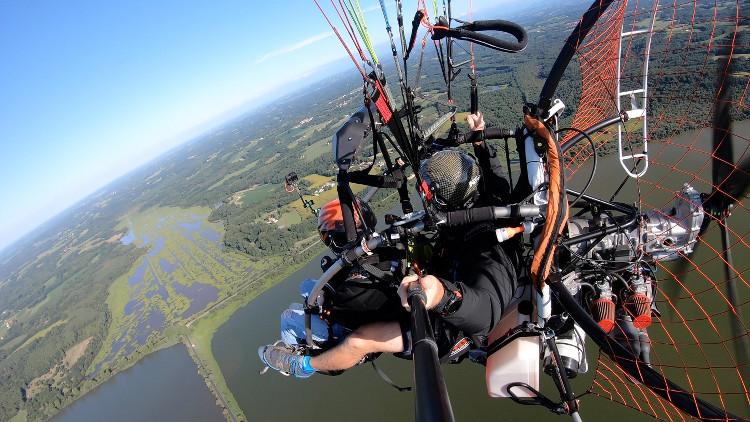 vol en paramoteur au-dessus du marais d'Orx
