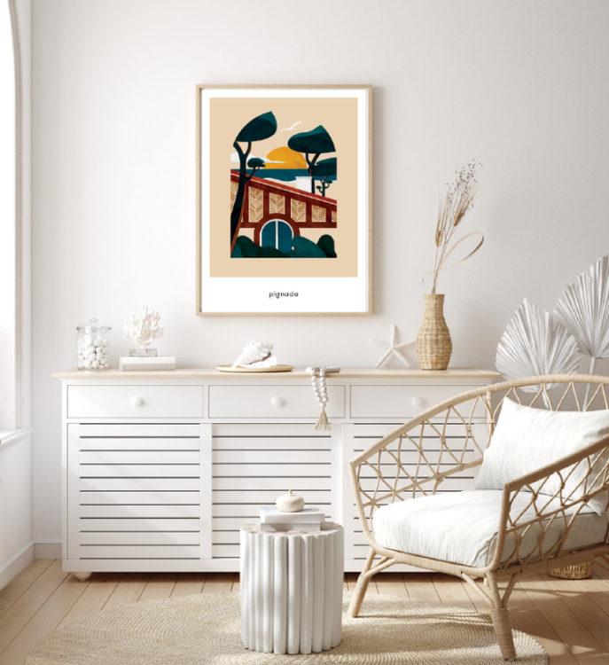Affiche Pignada dans un décor de maison